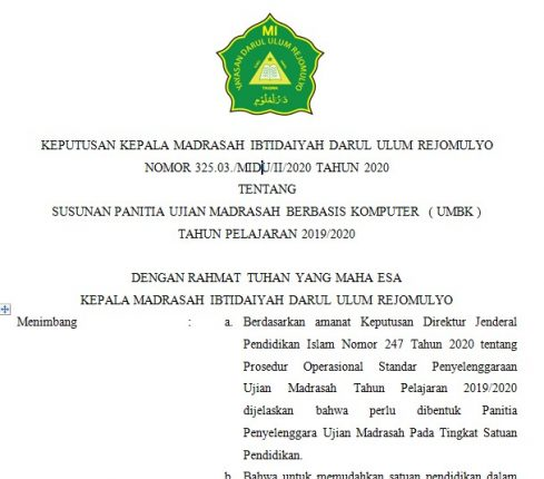 SK Panitia Ujian Madrasah (UM)